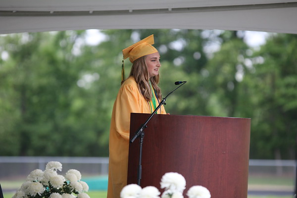 AIMEE AMBROSE | THE GOSHEN NEWS <br /> Kailee Miller delivers the student address to the class of 2019 during Northridge High School's graduation ceremony in Middlebury Sunday.