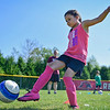 BEN MIKESELL | THE GOSHEN NEWS<br /> Greenlee Munoz, 7, of Goshen, aims for the net during a drill Tuesday morning at Shanklin Park. The Goshen Parks and Recreation Department's week-long soccer camp began Monday, with hour-long sessions for ages 4-5 and 6-10. The camp, which focuses on fundamentals including ball control, is led by Mark Aukerman of Wakarusa.