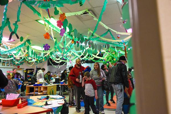 BEN MIKESELL | THE GOSHEN NEWS<br /> Sonya Overman's kindergarten class was transformed into a rain forest setting for the kindergarten showcase Thursday evening at Chamberlain Elementary School.