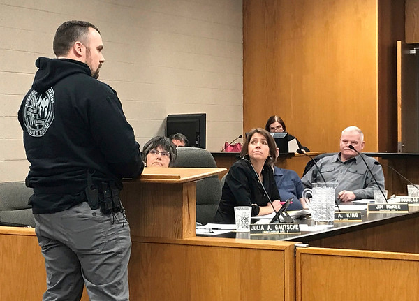 JOHN KLINE | THE GOSHEN NEWS<br /> Jeremy Hooley, firearms and tactical instructor for the Goshen Police Department, speaks with Goshen City Council members Tuesday about the current status of ongoing construction and rehabilitation work at the city's new Police Training Facility.