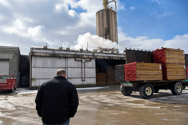 BEN MIKESELL | THE GOSHEN NEWS<br /> Andrew Carunchia walks through the grounds Thursday afternoon at Wible Lumber Company in South Milford.