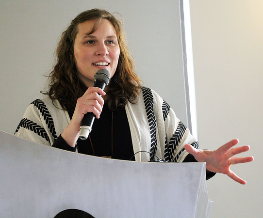Roger Schneider | The Goshen News<br /> <br /> Amy Worsham talks about the Little Big Idea grant program offered by the Vibrant Communities group.