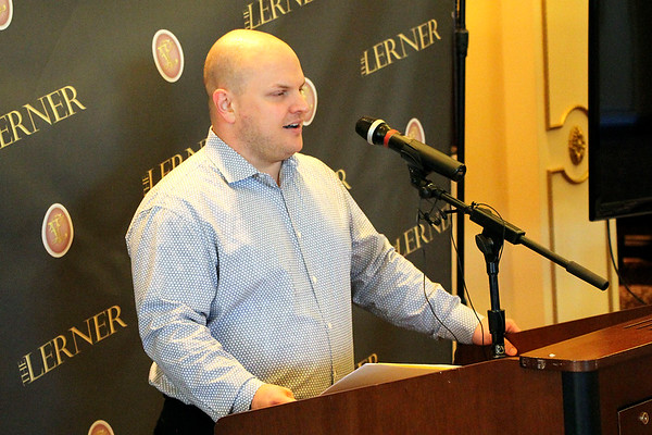 AIMEE AMBROSE | THE GOSHEN NEWS <br /> Ben Decker, co-chair of the Elkhart Jazz Festival, announces the dates, headliners and ticket prices for this year's show during a news conference at the Lerner Theatre Tuesday. The 32nd annual festival will run June 21–23.