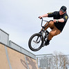 BEN MIKESELL | THE GOSHEN NEWS<br /> Nicholas Craw, 17, gets air with his bike while enjoying Goshen High School's spring break Wednesday afternoon at the Tyler S. Joldersma Skate Park.