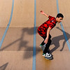 BEN MIKESELL | THE GOSHEN NEWS<br /> Rayshawn Thomas, 16, skates down the halfpipe while enjoying Goshen High School's spring break Wednesday afternoon at the Tyler S. Joldersma Skate Park.