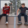 BEN MIKESELL | THE GOSHEN NEWS<br /> Rayshawn Thomas, 16, left, sits with Michael Corral, 15, as they discuss how to ride the halfpipe Wednesday afternoon at the Tyler S. Joldersma Skate Park in Goshen.