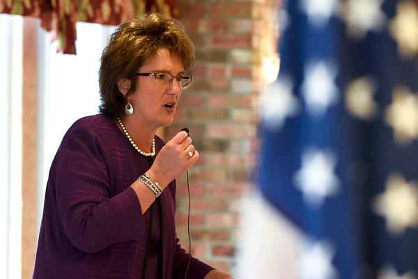 BEN MIKESELL | THE GOSHEN NEWS<br /> Congresswoman Jackie Walorski speaks during a ceremony for Vietnam Veterans Day Friday morning at Courtyard Healthcare Center in Goshen.