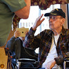 BEN MIKESELL | THE GOSHEN NEWS<br /> John Gilbert, of Warsaw, salutes fellow Vietnam veteran John Bickel as he is pinned during a ceremony for Vietnam Veterans Day Friday morning at Courtyard Healthcare Center in Goshen. Gilbert was deployed with the U.S. Army from 1969-70 during the Vietnam War.
