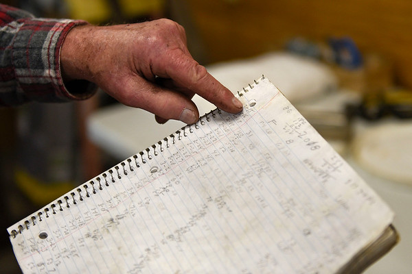 BEN MIKESELL | THE GOSHEN NEWS<br /> Mark Matthews, Bristol, uses a notebook to log the yields from each day making maple syrup. The notebook dates back to the early 2000s.