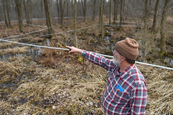 BEN MIKESELL | THE GOSHEN NEWS<br /> Mark Matthews, Bristol, shows the system of tubes he has connected to the red maple trees on his property. Matthews has nearly 350 taps throughout his property, which draw sap from the trees that he uses to make maple syrup.