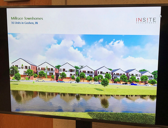 JOHN KLINE | THE GOSHEN NEWS<br /> This provided image shows the proposed layout of a new 16-unit townhomes development along the Goshen millrace planned by Mishawaka-based development firm InSite Development.