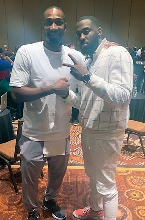 photo contributed<br /> Goshen College men's basketball assistant Rod Wilmont, right, poses for a picture with former NBA player Gilbert Arenas following the Big3 draft Wednesday in Las Vegas, Nevada. Wilmont will be an alternate for the Tri-State team, captained by former Indiana Pacer Jermaine O'Neal.