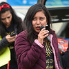 BEN MIKESELL | THE GOSHEN NEWS<br /> Catalina Adorno, volunteer organizer with the Cosecha Movement, speaks during a rally Wednesday afternoon in the parking lot of Cueramaro Supermarket along Lusher Avenue in Elkhart.
