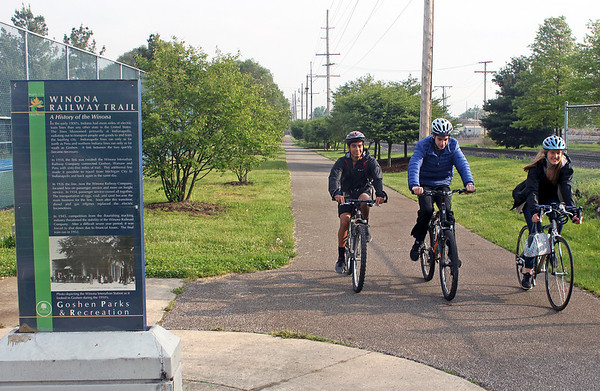 PHOTO CONTRIBUTED<br /> Bethany students Sam Ostergren, Christian Yoder, and Jadyn Kaufmann use the Winona Interurban Trail to bike to school.