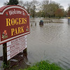 BEN MIKESELL | THE GOSHEN NEWS<br /> Rogers Park is flooded with water from the nearby Elkhart River early Wednesday morning in Goshen.