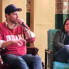 JOHN KLINE | THE GOSHEN NEWS<br /> Zach Spicer, CEO of Pigasus Pictures LLC, left, speaks on the current state of filmmaking in Indiana during a panel discussion at Ignition Music Garage in downtown Goshen Friday morning. Also pictured is Amy Howell, director of Film Indiana.