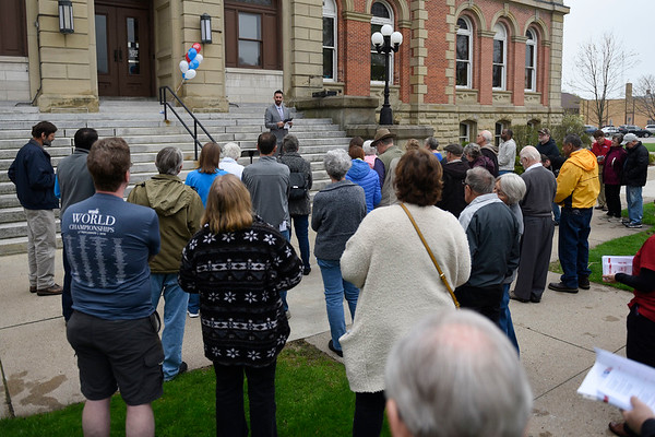 BEN MIKESELL | THE GOSHEN NEWS<br /> Mayor Jeremy Stutsman delivers the official proclamation for the National Day of Prayer Thursday at the Elkhart County Courthouse.