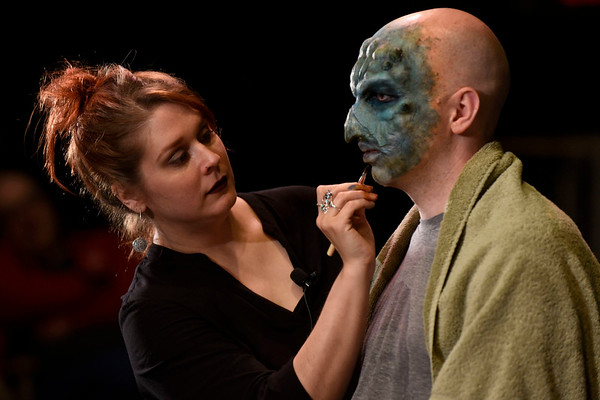 BEN MIKESELL | THE GOSHEN NEWS<br /> Makeup artist Sarah Elizabeth, a Goshen native, demonstrates a mask application with the help of her fiancé Mark Ferns during Friday's River Bend Film Festival at Art House in Goshen. Elizabeth has appeared on the SyFy show Face Off and various Netflix series. The festival continues today.