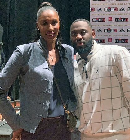 photo contributed<br /> Goshen College men's basketball assistant coach Rod Wilmont, right, poses for a picture with former WNBA player Lisa Leslie at the Big3 draft Wednesday in Las Vegas, Nevada.