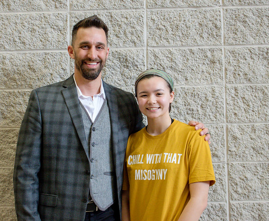 PHOTO PROVIDED<br /> Goshen Mayor Jeremy Stutsman, left, poses for a photo with Goshen High School junior Zoe Eichorn following her election as the city's next youth adviser to the Goshen City Council Thursday at the high school.