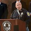 BEN MIKESELL | THE GOSHEN NEWS<br /> Goshen Police Chief Jose Miller speaks during Wednesday's police officer memorial ceremony outside the Goshen Police Station.