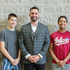 PHOTO PROVIDED<br /> Goshen Mayor Jeremy Stutsman, center, poses for a photo with student candidates, from left, Joseph Narayan, Simon Hertzler Gascho, Dylan Steury and Zoe Eichorn during a special election at the high school Thursday to elect the city's next youth adviser to the Goshen City Council.