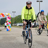BEN MIKESELL | THE GOSHEN NEWS<br /> ADEC board member Cary Kelsey takes off from the starting line in Saturday morning's ADEC Ride-A-Bike fundraiser at Northridge High School. Kelsey has participated in 45 of the 47 total Ride-A-Bike fundraisers.