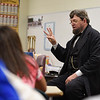 BEN MIKESELL | THE GOSHEN NEWS<br /> Abraham Lincoln reenactor Dean Dorrell gives a presentation to eighth-grade students at Northridge Middle School for their Civil War themed activity day.