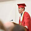 BEN MIKESELL | THE GOSHEN NEWS<br /> Senior class president Kent Yoder speaks to his classmates Thursday evening at Westview Jr. - Sr. High School.