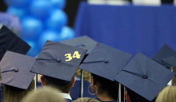 Geof Lesar | The Goshen News<br /> A number 34 is on the top of a Bethany Christian High School graduate Sunday. The number was worn by basketball player Keyshawn Smith, who was killed in a car crash during the school year. Bethany graduated 27 students Sunday.