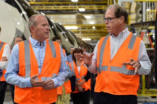 BEN MIKESELL | THE GOSHEN NEWS<br /> Grand Design RV CEO Don Clark, left, takes U.S. Senator Mike Braun on a tour through one of the plants Wedesday in Middlebury.