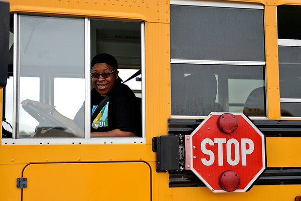 BEN MIKESELL | THE GOSHEN NEWS<br /> Concord Community Schools bus driver Tiana Warner laughs before she takes her turn on the obstacle course during the school bus rodeo Tuesday in the parking lot behind Concord Junior High.