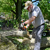 "BEN MIKESELL | THE GOSHEN NEWS<br /> David Coyne, of Goshen, cuts through a tree limb that fell due to heavy storms Thursday on his yard at West Wilden Avenue. ""Our Honda Odyssey would have been under that branch if it weren't away for a tuneup,"" David's wife Laura said."