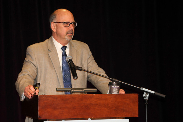 JOHN KLINE   THE GOSHEN NEWS<br /> RVIA Chairman Garry Enyart speaks to RV industry leaders during the 7th Annual RV Industry Power Breakfast held early Thursday morning at the Northern Indiana Events Center, part of the RV/MH Hall of Fame in Elkhart.