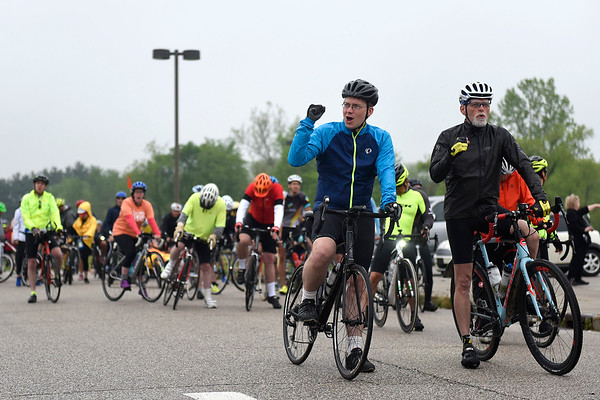 BEN MIKESELL | THE GOSHEN NEWS<br /> Seconds before the beginning of the race, the participants in ADEC's Ride-A-Bike fundraiser let out a cheer at Northridge High School in Middlebury in 2018.