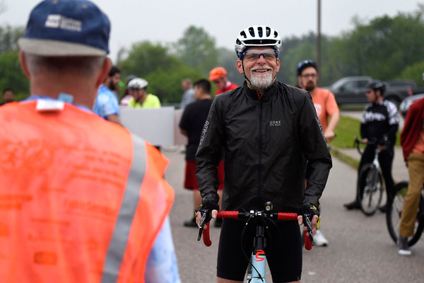 BEN MIKESELL | THE GOSHEN NEWS<br /> Rick Houston, Elkhart, waits at the front of the pack ready to bike 65 miles in ADEC's Ride-A-Bike fundraiser at Northridge High School in Middlebury in 2018.