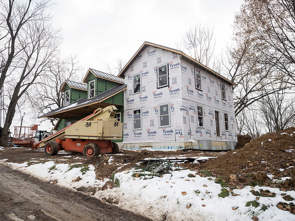 Joseph Weiser   The Goshen News<br /> The Fields Family Farmhouse is being remodeled with new siding and a new basement. Originally built in 1834 as the first post frame house in Elkhart County.