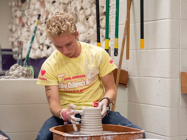 Joseph Weiser | The Goshen News<br /> Noah Wright, 18, of Elkhart creates a pot during the 21st annual Concord High School Potters Marathon to benefit Riley Children's Hospital. The goal this year is to make $45,000.00. Since 1999 CHS has raised $413,000.00.