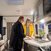 Joseph Weiser | The Goshen News<br /> Kelly Robertson of Ann Arbor and Kinston Phipps of Ann Arbor overlook the galley area of The Venture Sonic X during the RV Business RV of the year 2020 show at the RV/MH Hall of Fame and Museum in Elkhart Thursday.