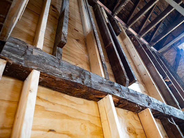 Joseph Weiser   The Goshen News<br /> The Fields Family Farmhouse is being remodeled with new siding and new basement. Originally built in 1834 as the first post frame house in Elkhart County. A portion of the original framework remains intact.