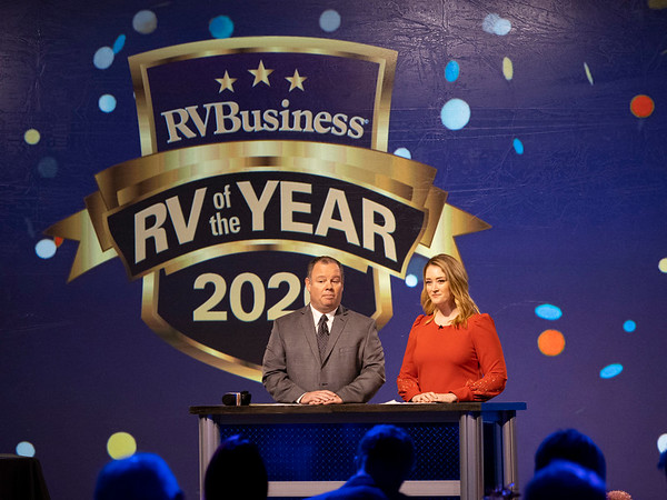 Joseph Weiser | The Goshen News<br /> Rick Kessler, Managing Editor of Business and Woodlall's Campground Management magazines and Colleen Wilcox of South Bend host the RV Business RV of the year 2020 show at the RV/MH Hall of Fame and Museum in Elkhart Thursday.