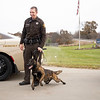 Joseph Weiser | The Goshen News<br /> Elkhart County Sheriff  K9 Polaris and K9 partner Jamie Sterling pose for a photo at Bennington Marine in Elkhart Monday. Bennington Marine, Godfrey, and Hurricane of Polaris covered the cost of the Polaris to a tune of $6,500.