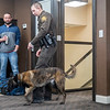Joseph Weiser | The Goshen News<br /> Elkhart County Sheriff  K9 Polaris and K9 partner Jamie Sterling demonstrates a drug sting at Bennington Marine in Elkhart Monday.Bennington Marine, Godfrey, and Hurricane of Polaris covered the cost of the Polaris to a tune of $6,500.