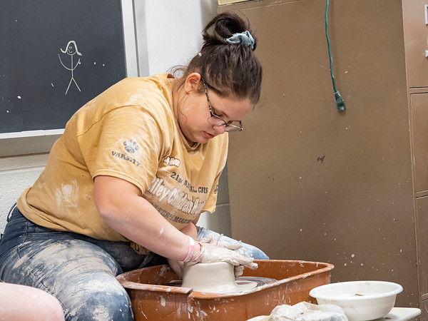 Joseph Weiser   The Goshen News<br /> Elizabeth Mulcahey, 16, of Elkhart shapes her clay form during the 21st annual Concord High School Potters Marathon to benefit Riley Children's Hospital. The goal this year is to make $45,000.00. Since 1999 CHS has raised $413,000.00.