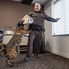 Joseph Weiser | The Goshen News<br /> Elkhart County Sheriff  K9 Polaris and K9 officer Justin Yoder demonstrates a take down scene at Bennington Marine in Elkhart Monday. Bennington Marine, Godfrey, and Hurricane of Polaris covered the cost of the Polaris to a tune of $6,500.