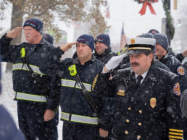 Joseph Weiser   The Goshen News<br /> Goshen fire department honoring America  during the Goshen Veteran's Day Ceremony at the Elkhart County Court House Monday.