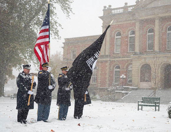 Joseph Weiser   The Goshen News<br /> Goshen fire and police departments honoring America  during the Goshen Veteran's Day Ceremony at the Elkhart County Court House Monday.