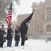 Joseph Weiser | The Goshen News<br /> Goshen fire and police departments honoring America  during the Goshen Veteran's Day Ceremony at the Elkhart County Court House Monday.