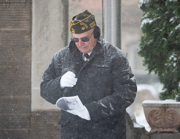 Joseph Weiser   The Goshen News<br /> Joe Farrell of Goshen delivers the invocation during the Goshen Veteran's Day Ceremony at the Elkhart County Court House Monday.