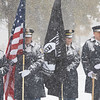 Joseph Weiser | The Goshen News<br /> Goshen fire and police departments retires the colors during the Goshen Veteran's Day Ceremony at the Elkhart County Court House Monday.